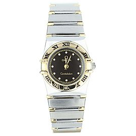 Omega constellation quartz 2 tone black dial 24mm