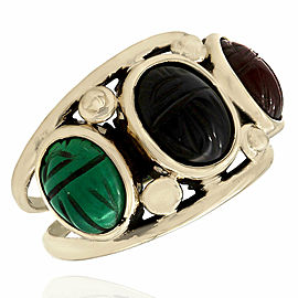 Green, Black and Red Scarab Ring in 14KY