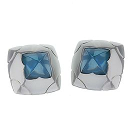Bulgari 18k White Gold Bvlgari Piramide Blue Topaz Clip Earrings