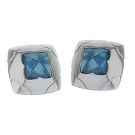Bulgari 18k White Gold Bvlgari Piramide Blue Topaz Clip Earrings