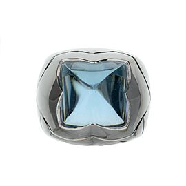 18K White Gold Bvlgari Piramide Blue Topaz Cocktail/ Right Hand Ring-Size 6