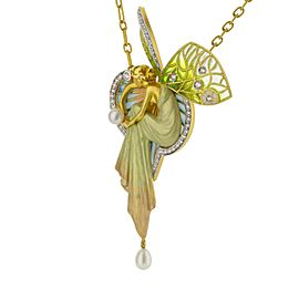 18KY Gold Bagues Masriera Magic Nymph Diamond and Pearl Pin/Pendant Necklace