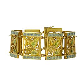 "18K Yellow Gold Bagues Masriera Fired Enamel Diamond Fairy Leaf Link 7"" Bracelet"
