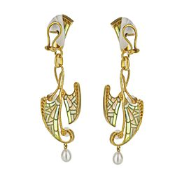 18K Yellow Gold Bagues Masriera Fairy Pearl and Diamond Leaf Dangle Earrings