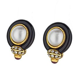 18k Yellow Gold Vintage Sidney Garber Mabe Pearl Earrings