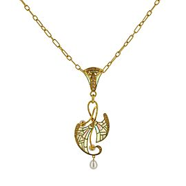 18K Yellow Gold Bagues Masriera Pearl and Diamond Fired Enamel Pendant Necklace