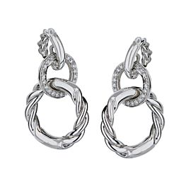 18k White Gold Movado Round Dangle Diamond Earrings 0.13cts