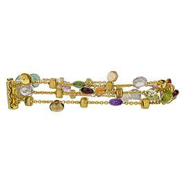 "18k Yellow Gold Marco Bicego Multi-Color Three Strand Bracelet 7.25"""