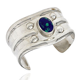 Vintage Handmade Mexican Sterling Silver Blue Green Stone Cuff Bracelet