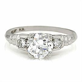 Platinum Three Stone Ring with 1ct Center Diamond