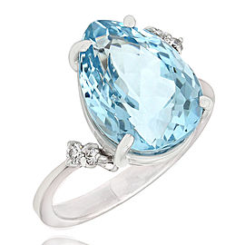 18KW Pear Aquamarine Ring with Diamond Accent