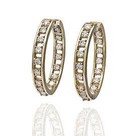 14KY Diamond Inside Outside Hoop Earrings