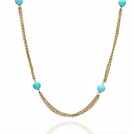 14KY Plastic Turquoise Color Bead Station Necklace