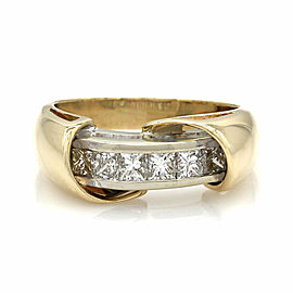 Princess Cut Channel Set Diamond Ring in 14K Yellow & White Gold