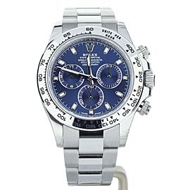 Rolex Daytona White Gold On Bracelet Blue Dial Ref: 116509