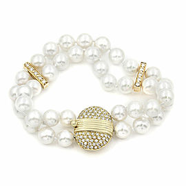 18KY White Pearl & Diamond Clasp Bracelet