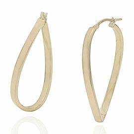 18KY Elongated Twisted Hoop Earrings