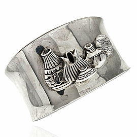 Southwestern Handmade Sterling Silver Pottery Cuff Bracelet