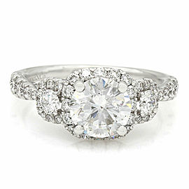 2.45ctw Diamond Three Stone Halo Engagement Ring in 14k