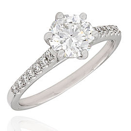 Single Row Diamond Engagement Ring with 1.12ct Round Center in 18kw