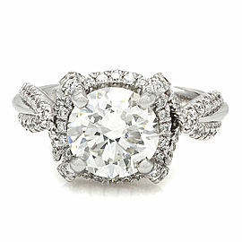 Twist Band Diamond Halo Engagement Ring with 2.30ct Center in 18kw