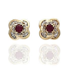 14KY Ruby and Diamond Quatrefoil Earrings