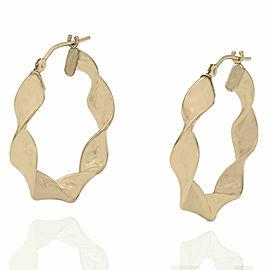 14ky Twisted Ribbon Hoop Earrings