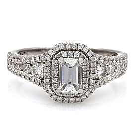 Three Row, Double Halo, Emerald Diamond Engagement Ring in 18kw