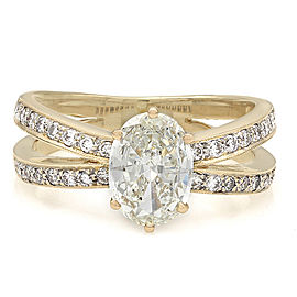18ky Milgrain Accented Crossover Diamond Ring with 1.20ct Oval