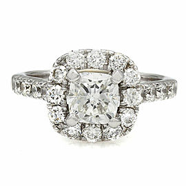 Cushion Diamond Halo Ring in 14kw with 1.02ct Center