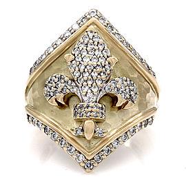 14KY Diamond Pave Fleur de Lis Ring