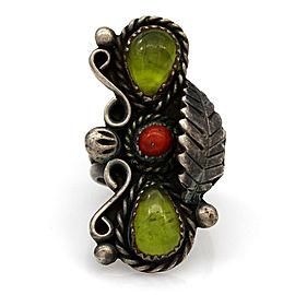 Vintage Navajo Sterling Silver Peridot & Coral Ring Signed VK