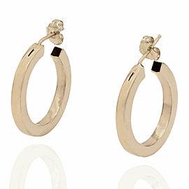 18KY Square Edge Round Hoop Earrings