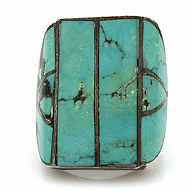 Vintage Navajo Handmade 925 Sterling Silver Turquoise Inlay Ring