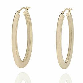 14KY Elongated Oval Hoop Earrings