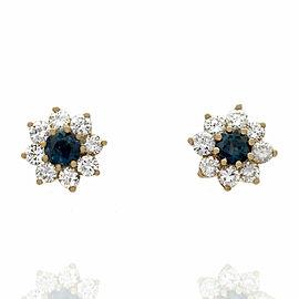14KY Sapphire and Diamond Halo Stud Earrings