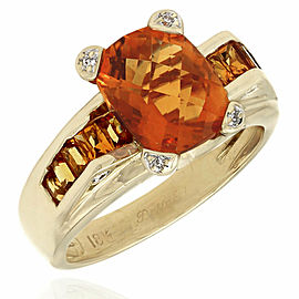 18KY Citrine Ring with Diamond Accents