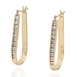 14KY Stirrup Shape Diamond Hoop Earrings