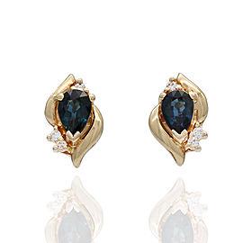 14KY Sapphire and Diamond Earrings