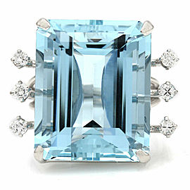 29.05CT Aquamarine and Diamond Ring