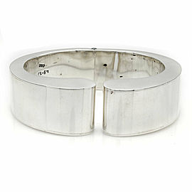 Mexican Modernist 925 Sterling Silver Hinged Bangle Bracelet