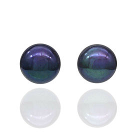 Black Pearl Stud Earrings 14KY