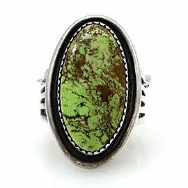 Vintage Navajo Handmade Solid Sterling Silver Gaspeite Ring Signed SM