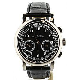 A. Lange & Sohne 1815 chronograph White Gold Black Dial 39.5mm 414.028 Full Set