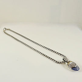 "David Yurman Sterling Silver 18K Yellow Gold Chalcedony Diamond Capri Pendant Necklace on 16"" Box Chain"