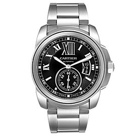 Calibre De Cartier Stainless Steel Black Dial Mens Watch W7100016 Box Papers