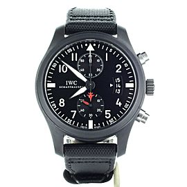 IWC Pilots Chronograph Top Gun Ceramic Black 46mm IW388001 Full Set