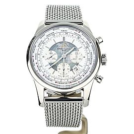 Breitling Transocean Unitime White Dial Steel Bracelet AB0510 COMPLETE SET
