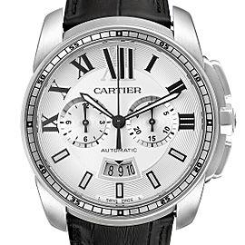 Calibre De Cartier Steel Chronograph Silver Dial Mens Watch W7100046 Box