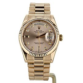 Rolex Day Date President Rose Gold 36mm Diamond Indices 118235